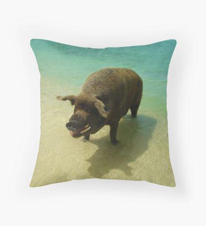 Wilbur the Beach Pig Throw Pillow