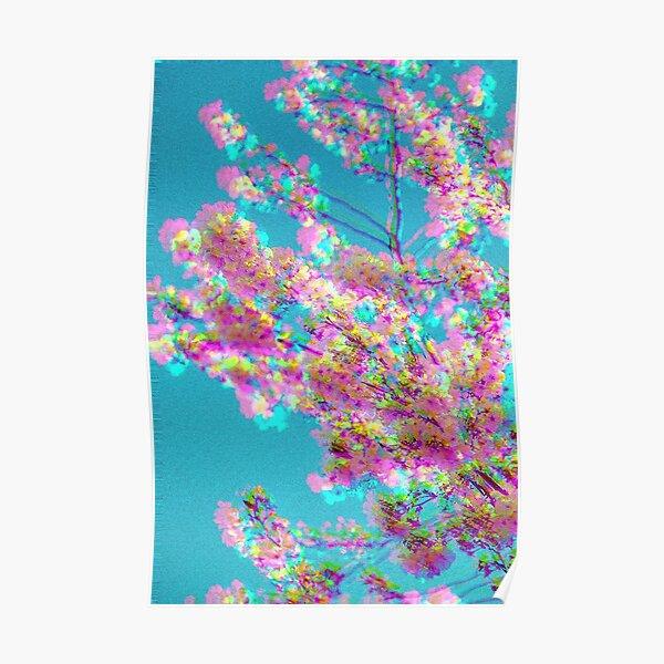 Aesthetic Cherry Blossom Vaporwave Poster