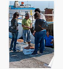 Doing the deal, Port of Sciacca, Sicily Poster