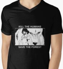 Kill the humans, save the forest Men's V-Neck T-Shirt