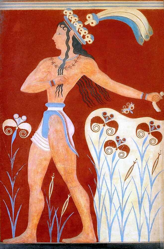 Minoan Priest King Feathered Prince of Lilies Fresco Art  by W. Sheppard Baird