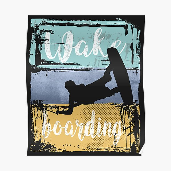 Wakeboarding Retro Wakeboarder  Poster