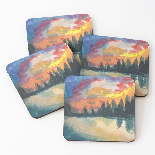 Sunset Over Mountains and Lake Coasters (Set of 4)