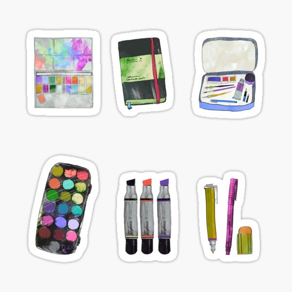Watercolor Art Supplies Artwork Sticker Pack Sticker