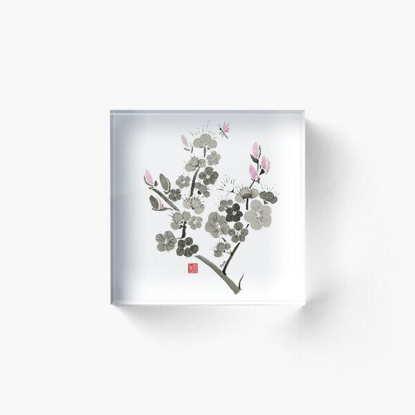 Cherry Blossoms Watercolor Sumi-e Painting Acrylic Block