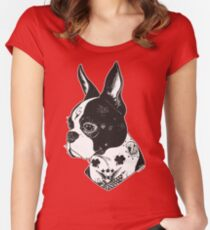 Tattooed Boston Terrier  Women's Fitted Scoop T-Shirt