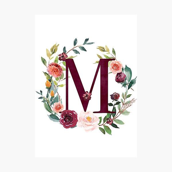 Pretty Floral Wreath Monogram M Photographic Print