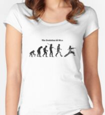 Evolution of Man - Martial Arts - Light [G] Women's Fitted Scoop T-Shirt