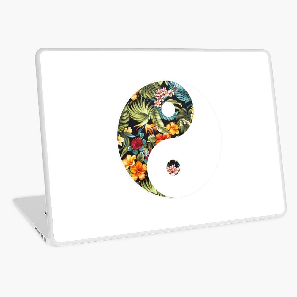 Símbolo de Ying Yang (flores hawaianas) Vinilo para portátil