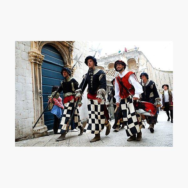 Medieval soldiers in Dobrovnik, Croatia Photographic Print