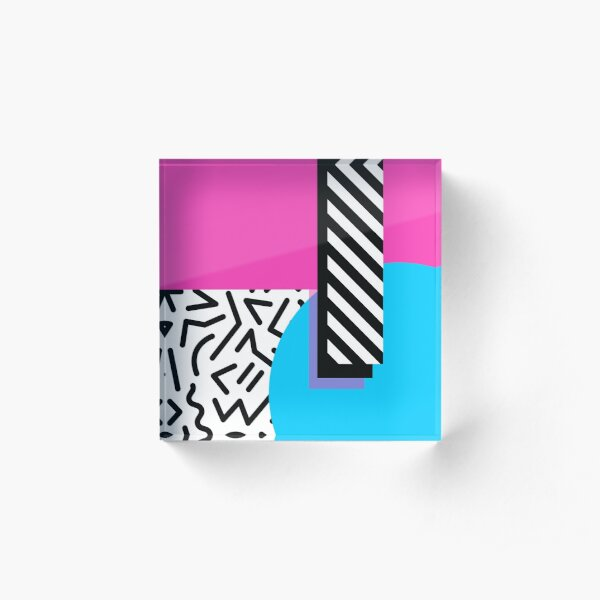 Colorful Retro Memphis Abstract Acrylic Block