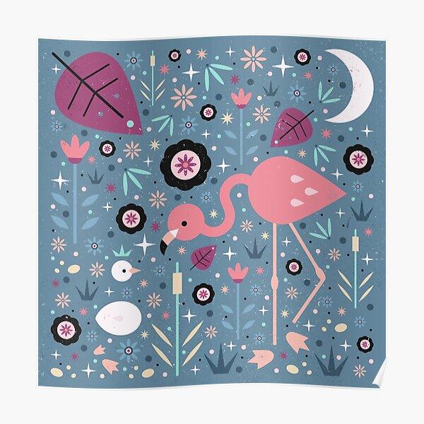 Flamingo & Chick  Poster