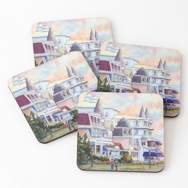 Stroll through Cape May, New Jersey. Jersey Shore. From a watercolor painting by Pamela Parsons Coasters (Set of 4)