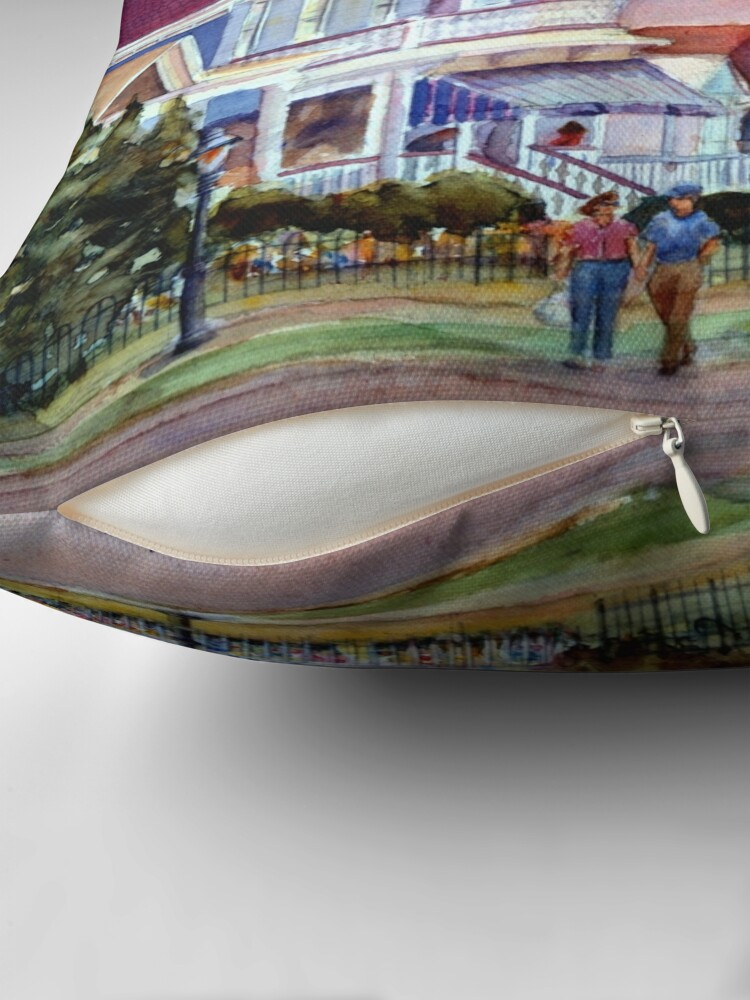 Alternate view of Stroll through Cape May, New Jersey. Jersey Shore. From a watercolor painting by Pamela Parsons Throw Pillow
