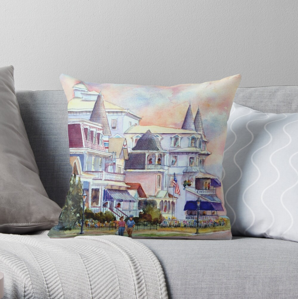 Stroll through Cape May, New Jersey. Jersey Shore. From a watercolor painting by Pamela Parsons Throw Pillow