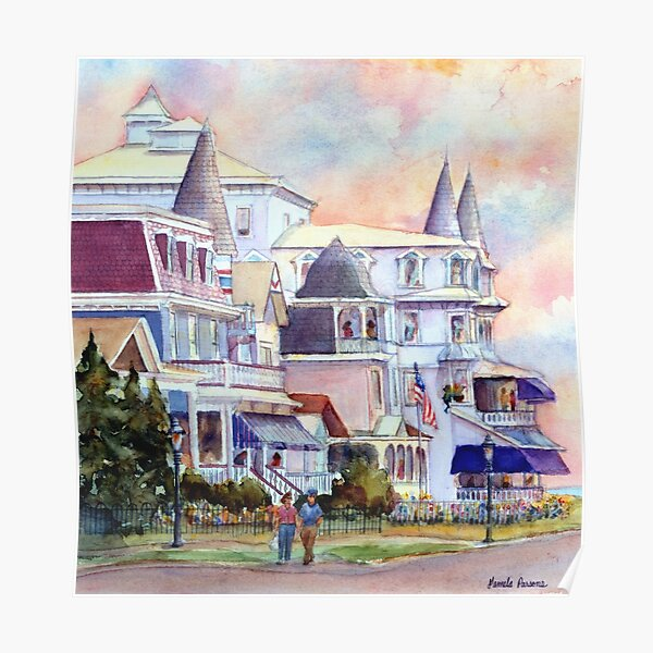 Stroll through Cape May, New Jersey. Jersey Shore. From a watercolor painting by Pamela Parsons Poster