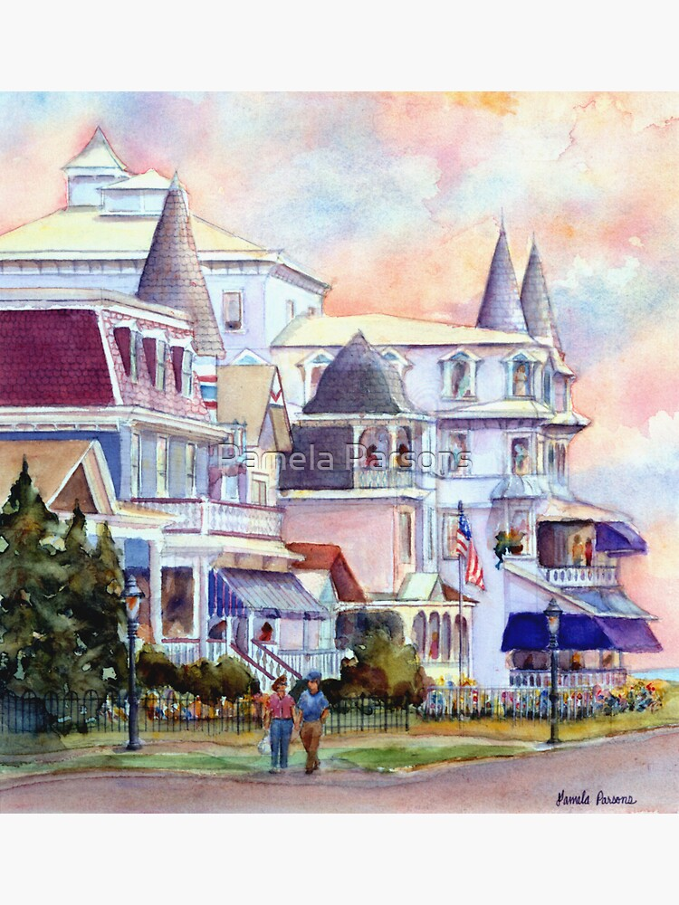 Stroll through Cape May, New Jersey. Jersey Shore. From a watercolor painting by Pamela Parsons by parsonsp