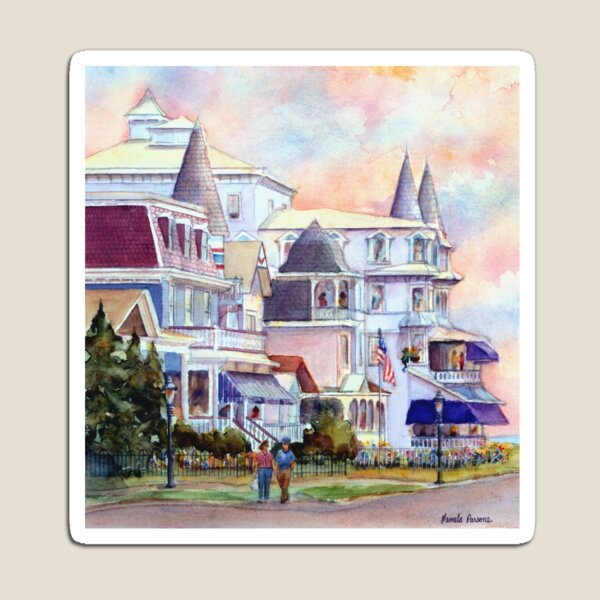 Stroll through Cape May, New Jersey. Jersey Shore. From a watercolor painting by Pamela Parsons Magnet
