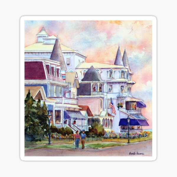 Stroll through Cape May, New Jersey. Jersey Shore. From a watercolor painting by Pamela Parsons Sticker