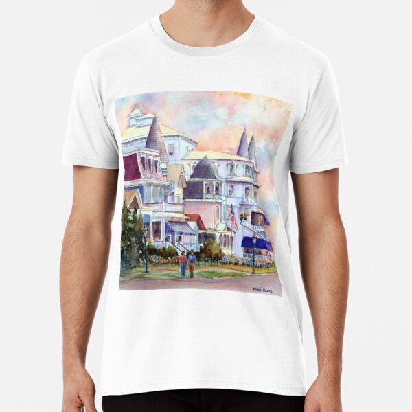Stroll through Cape May, New Jersey. Jersey Shore. From a watercolor painting by Pamela Parsons Premium T-Shirt