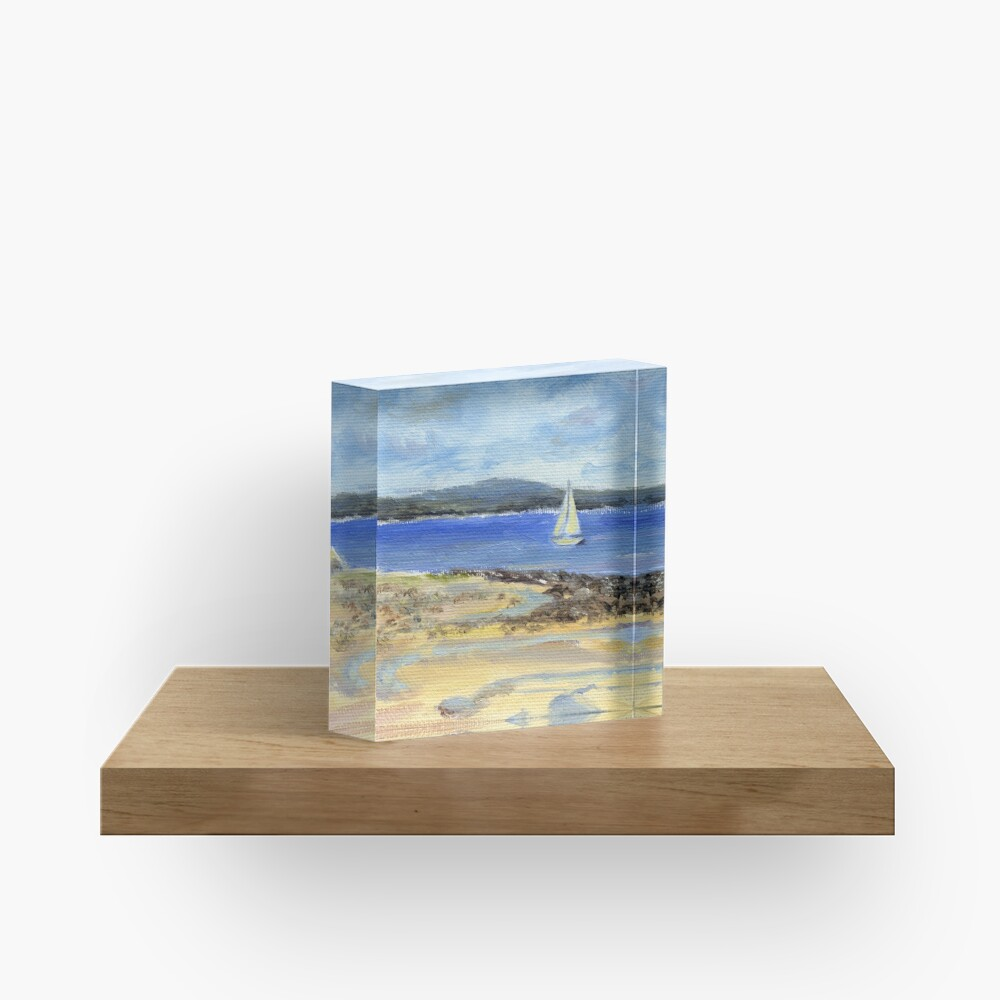 Sailing the Maine Coast. From oil painting by Pamela Parsons Acrylic Block
