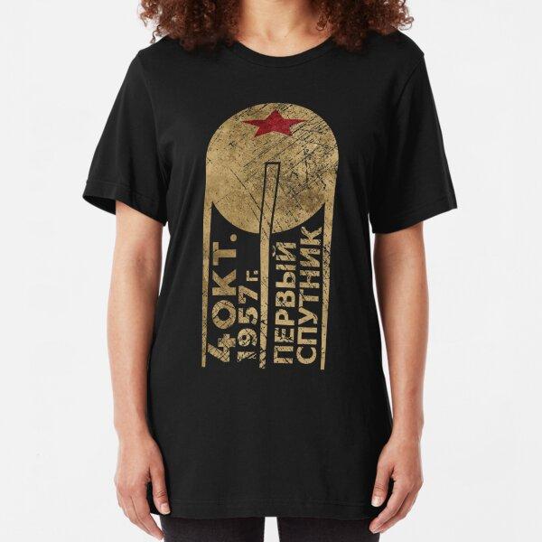 CCCP Sputnik 1 First Satellite Slim Fit T-Shirt