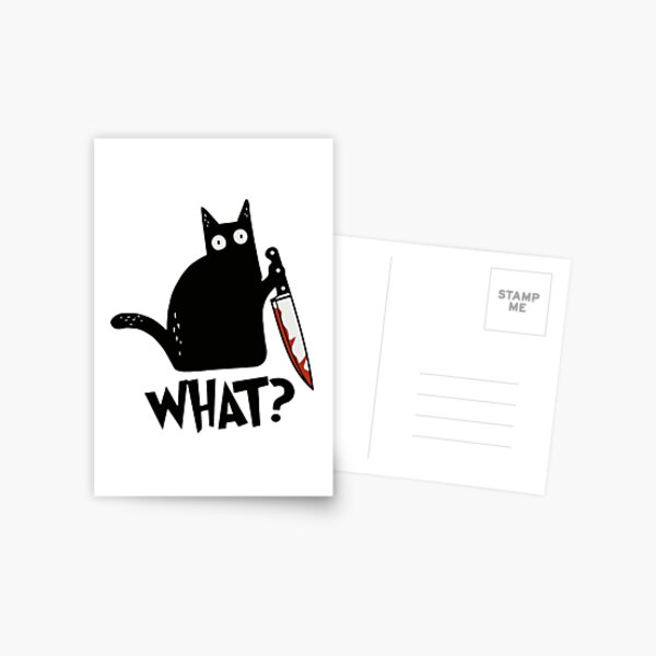 Cat What? Murderous Black Cat With Knife Gift Premium T-Shirt Postcard