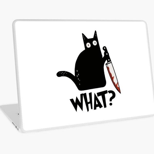 Cat What? Murderous Black Cat With Knife Gift Premium T-Shirt Laptop Skin