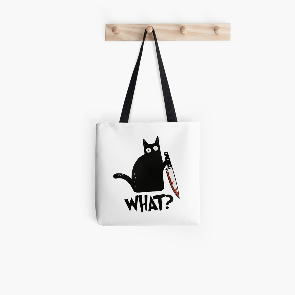 Cat What? Murderous Black Cat With Knife Gift Premium T-Shirt Tote Bag