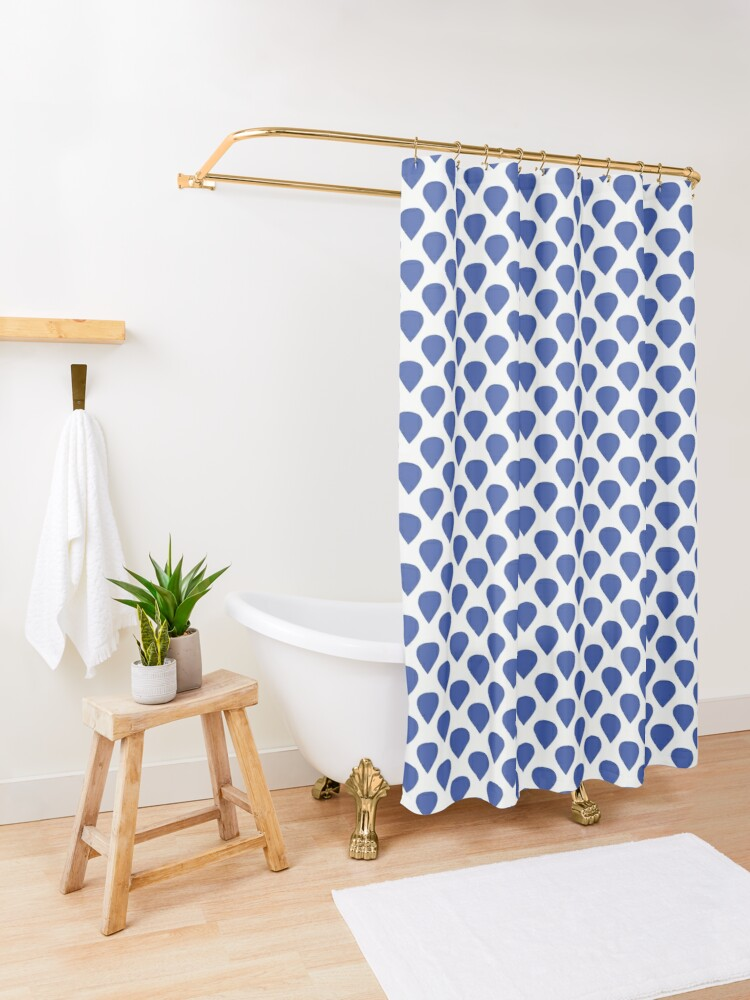 Alternate view of Blue drops Shower Curtain