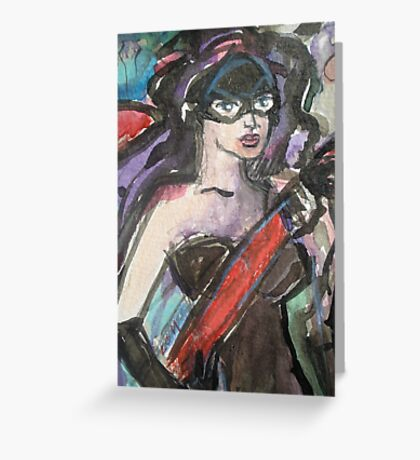 Lady Painter in Mask Detail Greeting Card