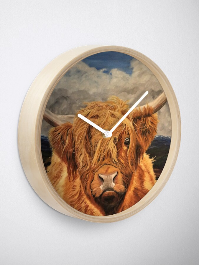 Alternate view of Highland Cow - Clock Clock