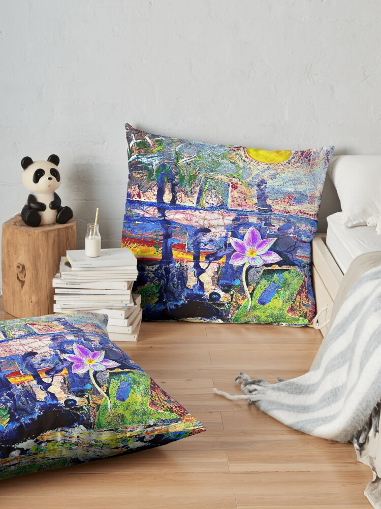 Alternate view of Flower Under a Darkening Sky. Original bright contemporary abstract acrylic artwork. Perfect gift for art lovers. Floor Pillow