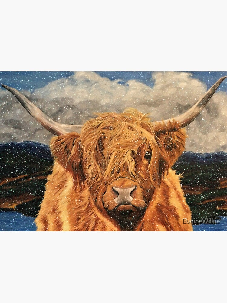 Highland Cow in Early Snow - Wall Art by EuniceWilkie