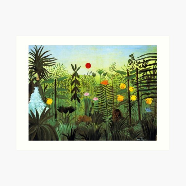 "Henri Rousseau ""Exotic Landscape with Lion and Lioness in Africa"", 1903-1910 Art Print"