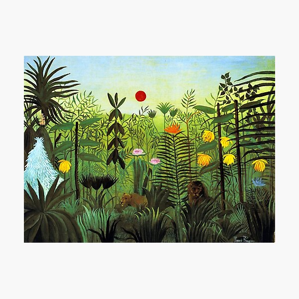 """Henri Rousseau """"Exotic Landscape with Lion and Lioness in Africa"""", 1903-1910 Photographic Print"""