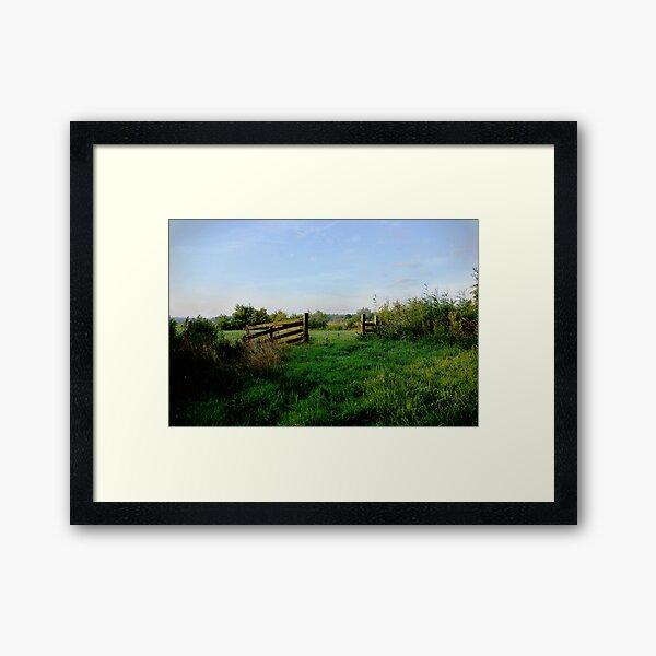 Meadow gate in morning light  Framed Art Print