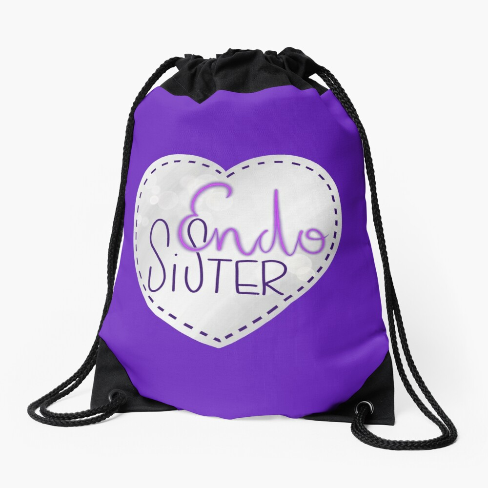 Endometriosis sister awareness handlettering Drawstring Bag