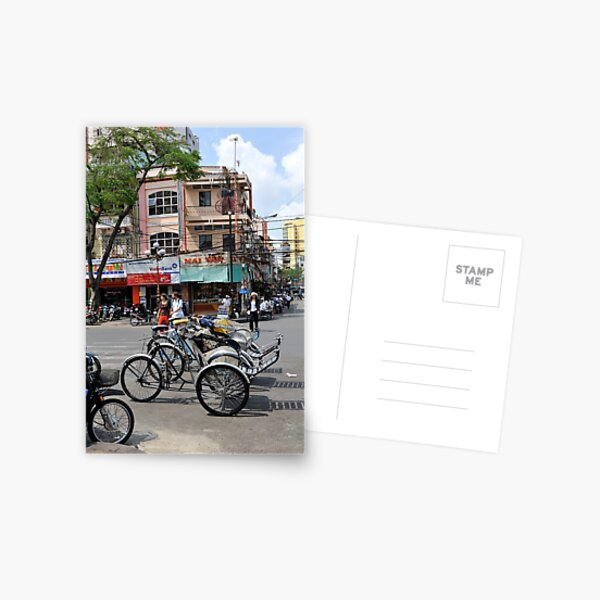 Cyclos (bicycle rickshaws), Ho Chi Minh City, Vietnam Postcard