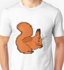 Brown squirrel eating nut. Cartoon image T-Shirt