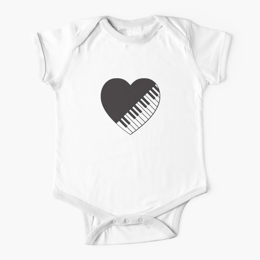 Baby Piano Keys Heart Short Sleeve Shirt Toddler Tee