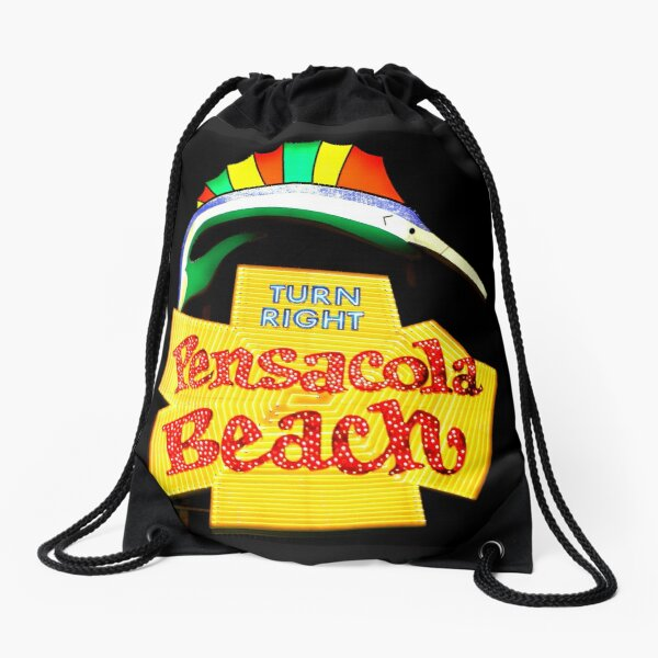 Pensacola Beach Sign Drawstring Bag