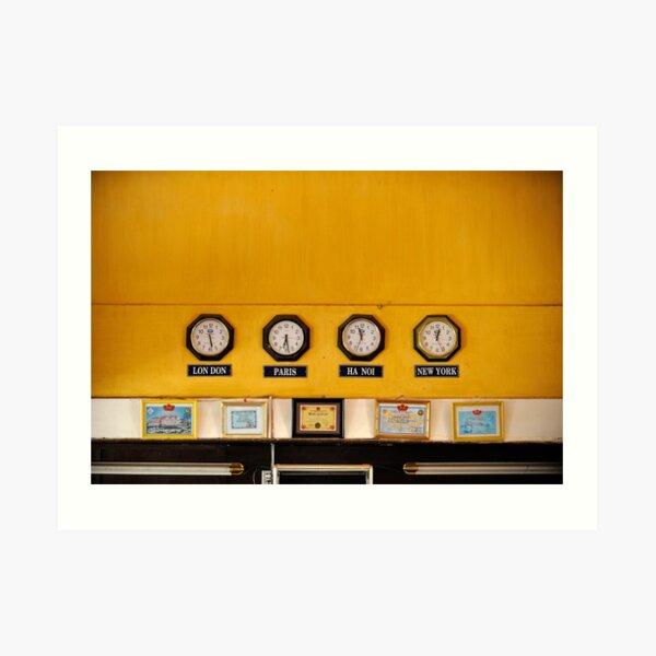 Clocks in Vietnamese train station for London, Paris, Hanoi and New York Art Print