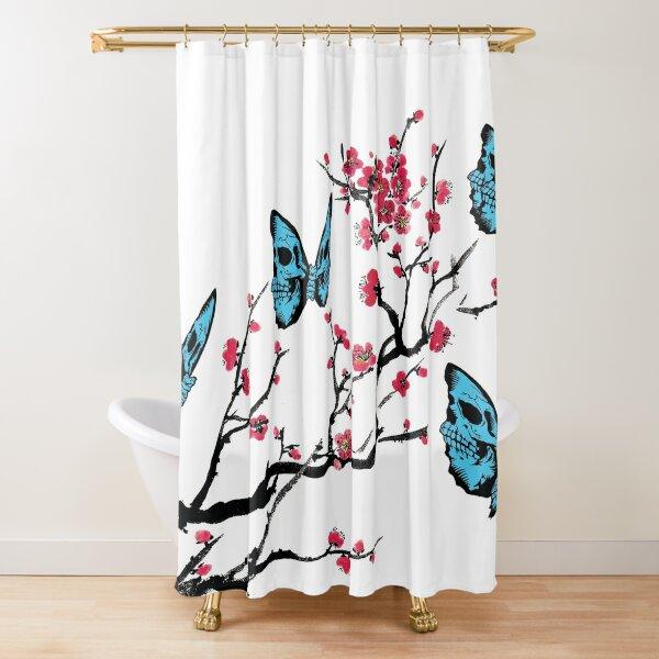 Skullerfly Cherry Blossom Shower Curtain