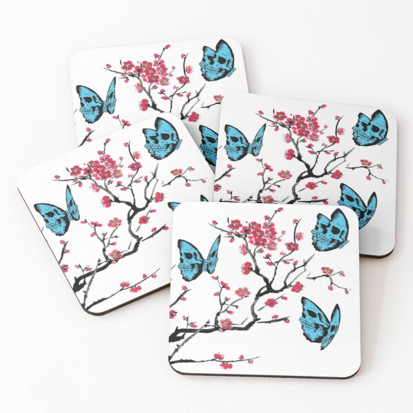 Skullerfly Cherry Blossom Coasters (Set of 4)