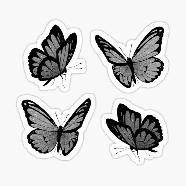 silver glitter butterflies Sticker