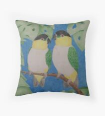 Black Headed Caiques Throw Pillow
