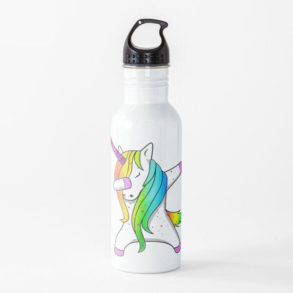Dabbing Rainbow Sparkle Unicorn Water Bottle