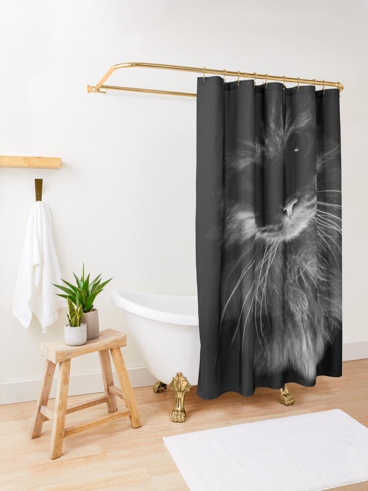 Alternate view of Drama Cat Shower Curtain