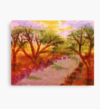 Enjoying summer by the water and trees, watercolor Canvas Print